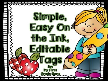 FREE! Editable,Simple,Ink Friendly Tags!