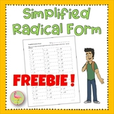 Radical Functions Simplified Radical Form Freebie
