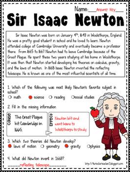 {FREE} Sir Isaac Newton Reading Passage