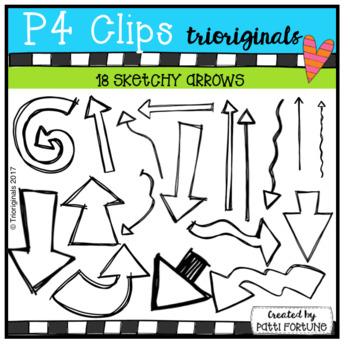 FREE Sketchy Arrows (P4 Clips Triorginals Clip Art)