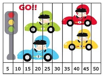 FREE Skip Counting Race Car Puzzles