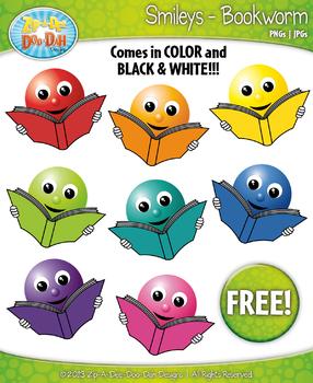 FREE Smart Bookworm Smiley Face Clipart Set Faces Emotions