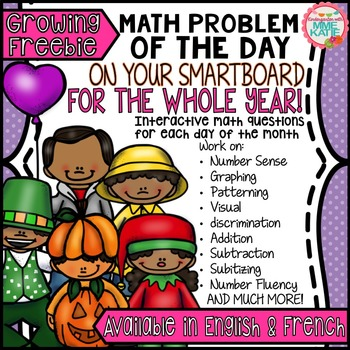 FREE SmartBoard Math Problem of the Day for the Whole Year - Growing Freebie
