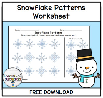 FREE Snowflake Patterns Worksheet