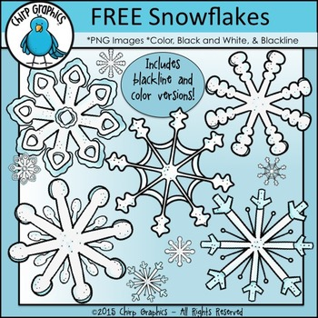 FREE Snowflakes Clip Art Set - Chirp Graphics