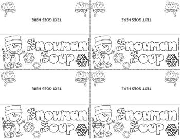 FREE Snowman Soup EDITABLE Topper