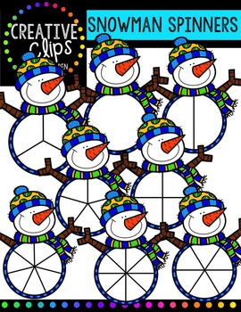 Snowman Clipart Spinners - Winter Clipart {Creative Clips