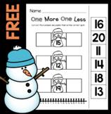 FREE Snowman Teen Numbers Number Line Worksheet - Winter Math Centers