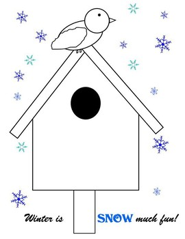 FREE Snowy Birdhouse in Winter Coloring Page