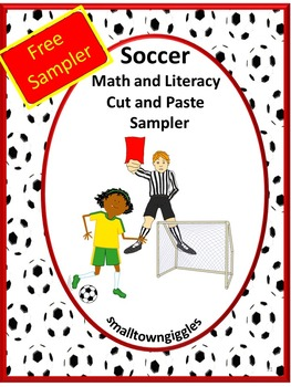 FREE: Soccer Math and Literacy Cut and Paste Sampler
