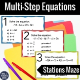 FREE Solving Multi-Step Equations Stations Maze Activity