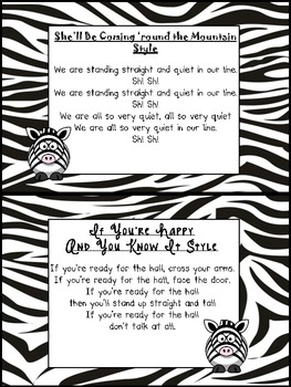 FREE Songs to Use for Lining Up (Zebra Print)
