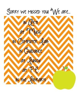 FREE Sorry We Missed You! Chevron Classroom Sign