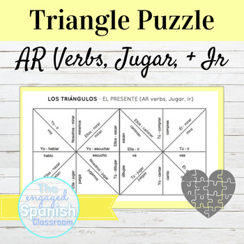 FREE Spanish Present Tense -AR Verb Puzzle -- also includes Jugar and Ir