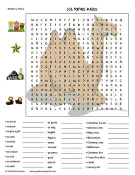 FREE Spanish Christmas Los Reyes Magos Word Search *Rompecabezas Gratis