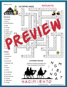 Spanish Christmas and Los Reyes Magos Crossword Puzzle.  Rompecabezas de Navidad