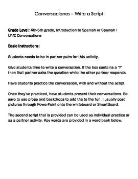 FREE Spanish Conversation Practice Script