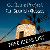 FREE Spanish class Culture Project IDEAS list!  50+ ideas for your students!