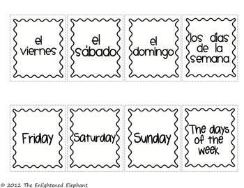 FREE Spanish Days and Months Go Fish Card Game