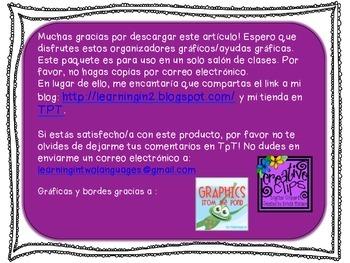Free Graphic Organizers fon Non Fiction in Spanish ( Common Core Aligned )