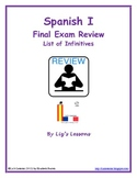 FREE Spanish I Final Exam Review, List of Infinitives