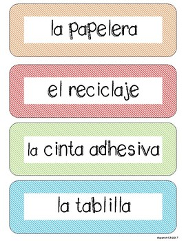 FREE Spanish Labels - Classroom objects