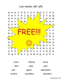FREE!!!  Spanish Months of the Year Word Search with Answer Key