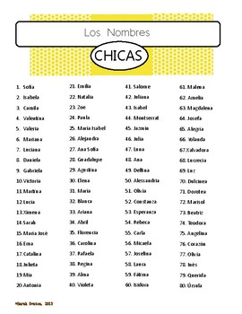 FREE!  Spanish Names list of boys' and girls' nombres