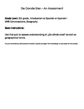 FREE Spanish Quiz (De Donde Eres)