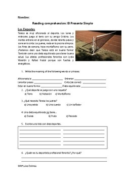 FREE Spanish Reading Comprehension about Sports with questions. Simple Present