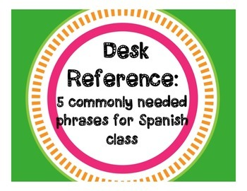 FREE Spanish Student Desk Reference for Frequently Asked Q