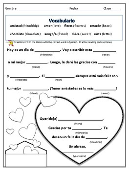 Spanish Valentine Worksheet