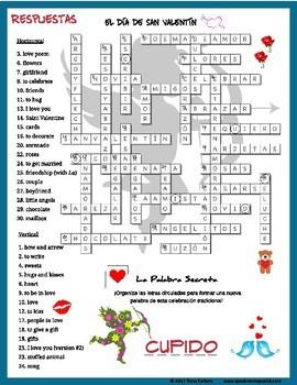 FREE Spanish Valentine's Day Crossword Puzzle. El Día de San Valentín