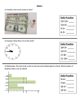 FREE Special Education Life Skills Math Daily Warm Up with IEP goals pre-written