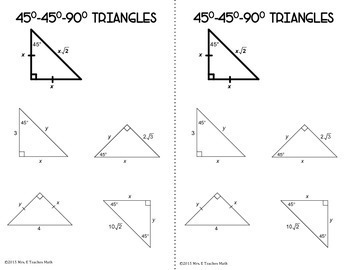 special right triangles interactive notebook page by mrs e teaches math. Black Bedroom Furniture Sets. Home Design Ideas