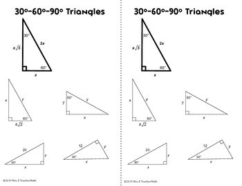 Special Right Triangles Interactive Notebook Page