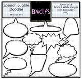 ~FREE~ Speech Bubble Doodles Clip Art {Educlips Clipart}