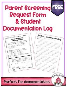 FREE- Speech & Language Screening Consent Form & Documentation Log