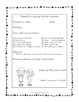 FREE Speech-Language Therapy Session Note for Parent Communication
