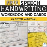 FREE Speech Sound Handwriting Workbooks and Cards - J Sound