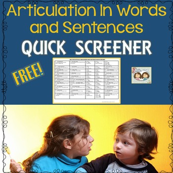 FREE! Speech Therapy: Word & Sentence Level Articulation Screener