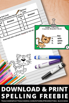FREE Spelling Task Cards, Commonly Misspelled Words, Literacy Centers 2nd Grade