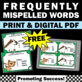 FREE Spelling Task Cards, Commonly Misspelled Words 3rd Grade 4th Grade