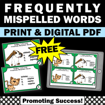free commonly misspelled words spelling activities task cards games