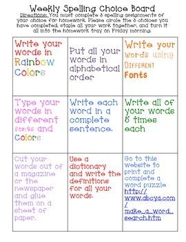 FREE Spelling Choice Board