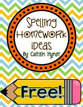 FREE Spelling Homework Ideas by Caitlin Hynst | Teachers Pay Teachers