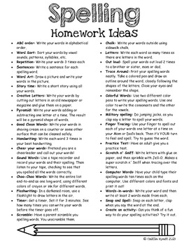free spelling homework ideas by caitlin hynst teachers pay teachers. Black Bedroom Furniture Sets. Home Design Ideas