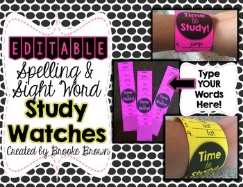 FREE Spelling & Sight Word Study Watches {EDIT with Your List!}