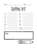 FREE - Spelling Test / Quiz Template - Simple, Easy with Challenge words box