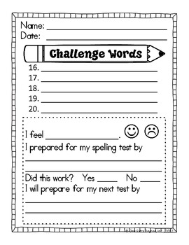 Free spelling test template by one extra degree tpt for Free printable spelling test template
